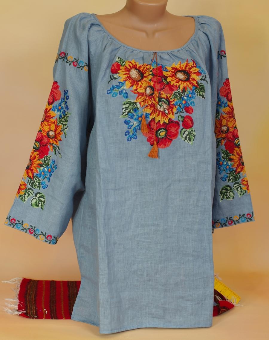 bbb7be480ccdf8 блузка соняхи синій льон. ціна: 2000 грн. Машинна вишивка. Жіночий ...